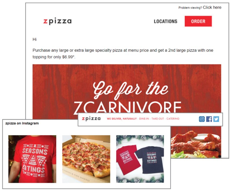 Zpizza template highlighting different ways to socialize your email.