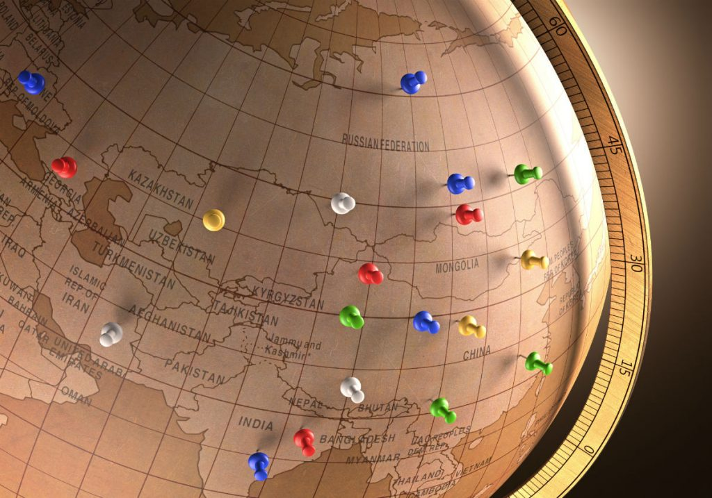 A globe showing the location of possible subscribers in different locations.