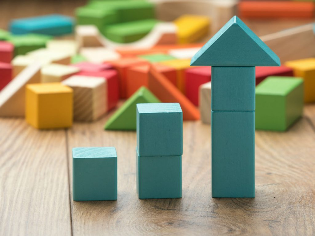 Building blocks showing growth to mimic the growth of your email marketing when using tagging and segmentation.