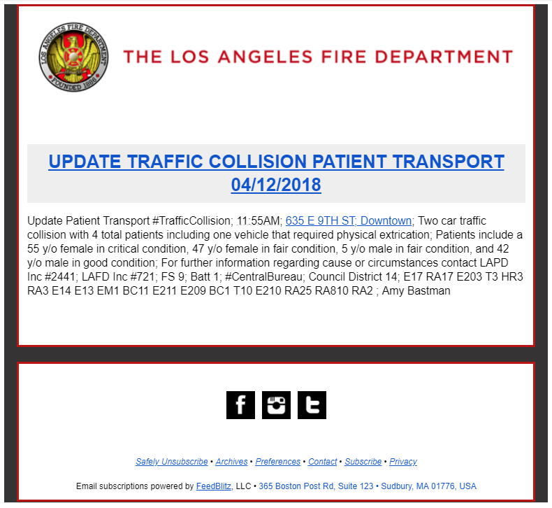 RSS to email example with LAFD