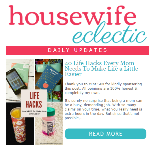 RSS to Email example Housewife Eclectic