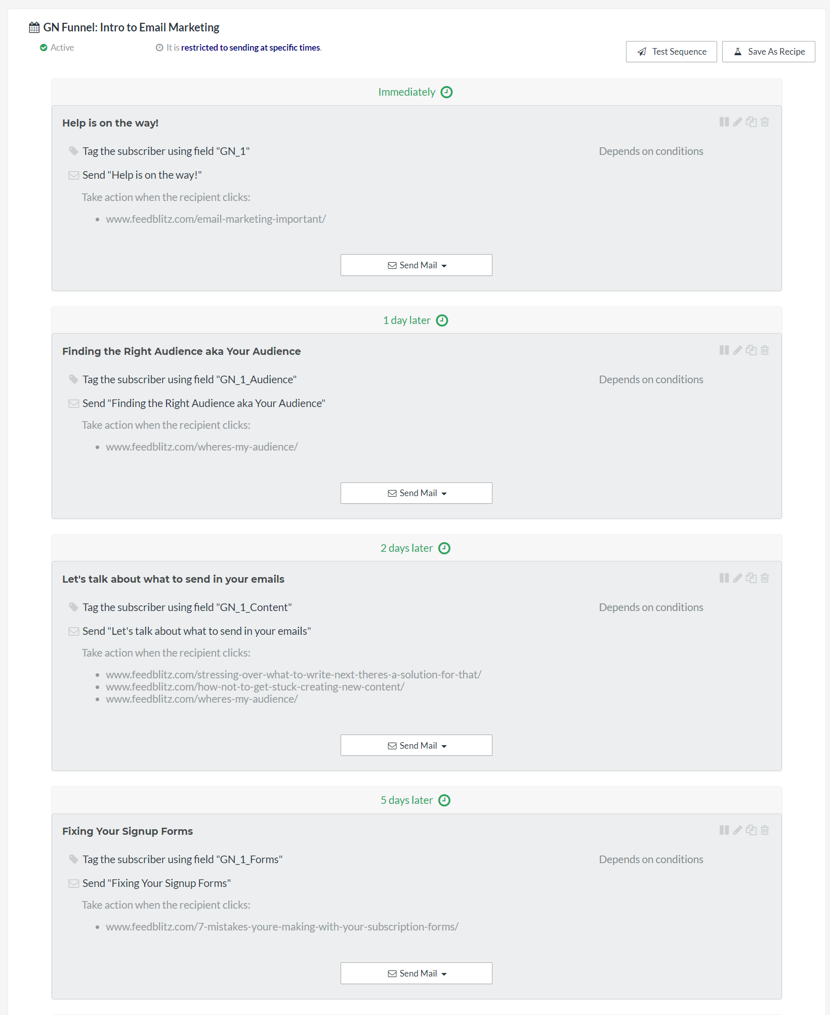 Preview of a funnel sequence for email automation example.