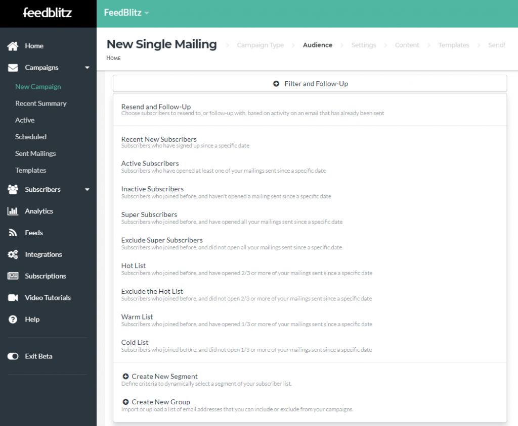 Screenshot of available subscriber engagement filters.
