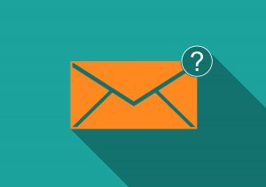 Email with question mark symbol.