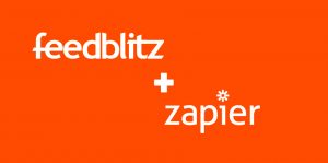 FeedBlitz and Zapier logos with plus sign.