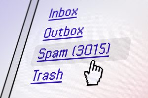 Screen detail showing large amount of Spam mail.
