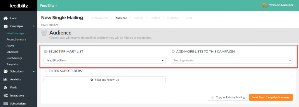 A screenshot highlighting where on your audience tab you can change the primary list and add another list to your mailing.