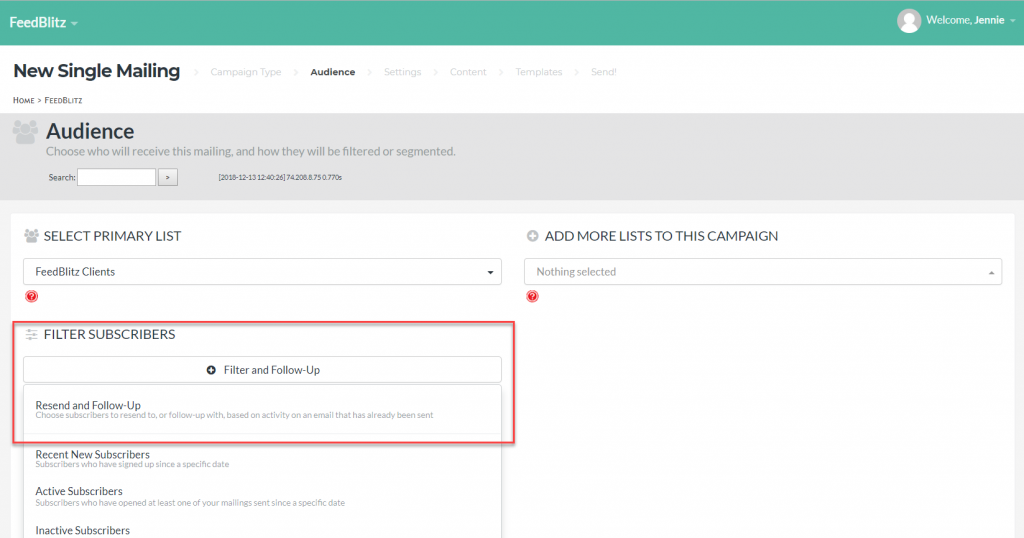 A screenshot showing where you audience filters are located for campaign follow-ups