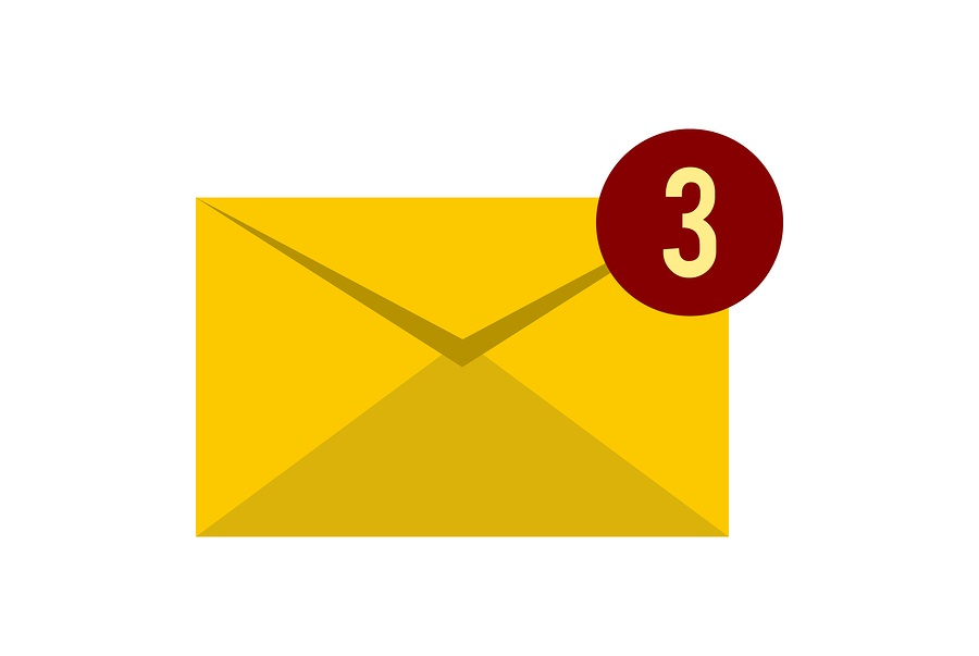 Three new emails icon in flat style isolated on white background.