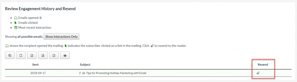 Screenshot showing where to resend an email to a single subscriber.