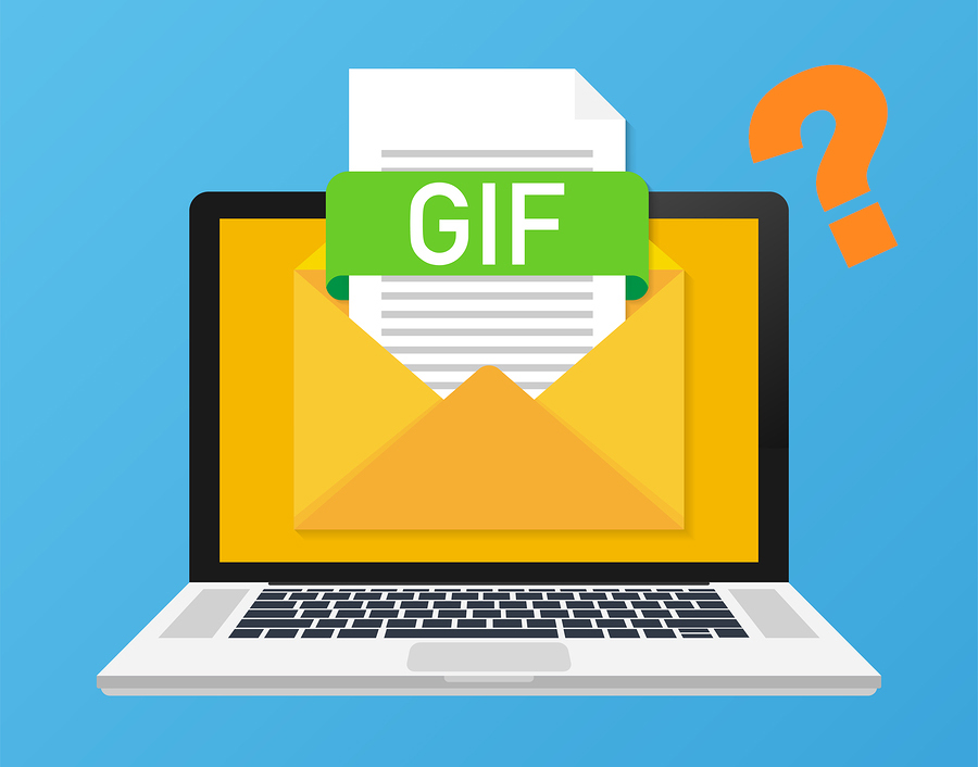 Laptop with envelope and GIF file with question mark.