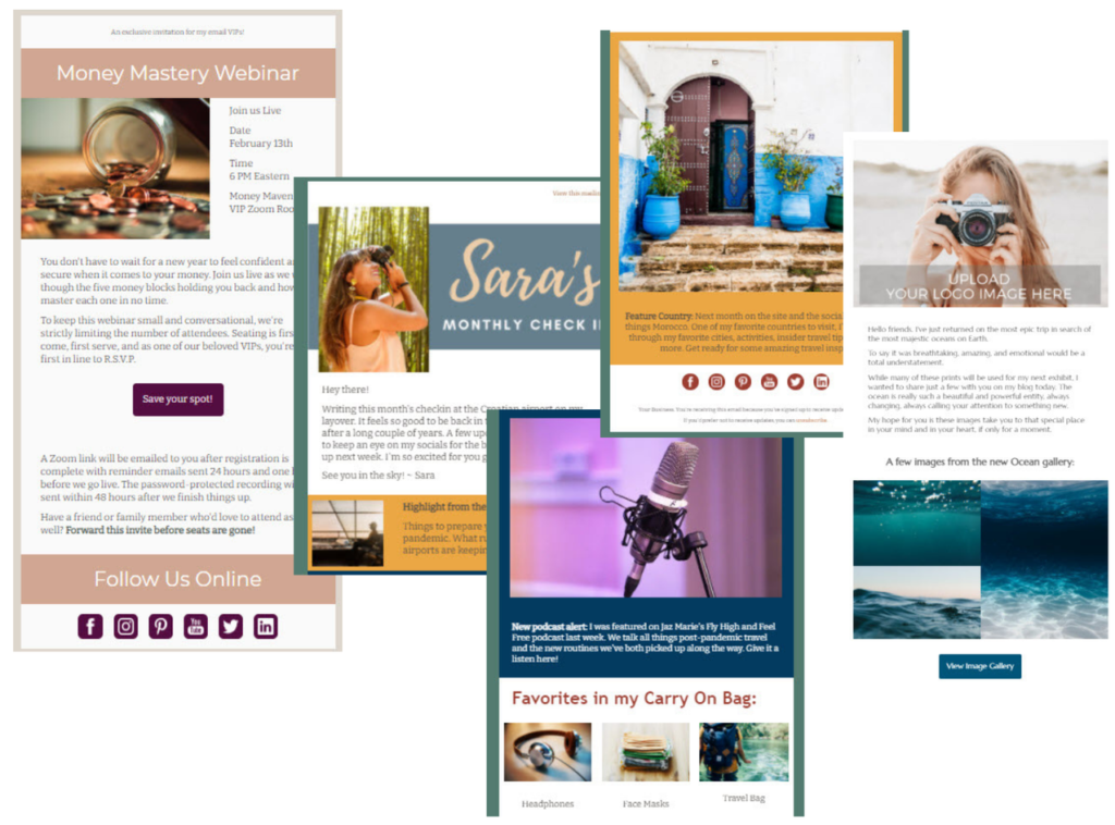 Collage showing three different email templates highlighting including a webinar sign up, a monthly newsletter with multiple blocks, and a photography email showcasing a gallery of images.