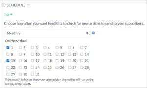 Screenshot of an automated campaign's schedule set to monthly with the first and the fifteenth chosen.