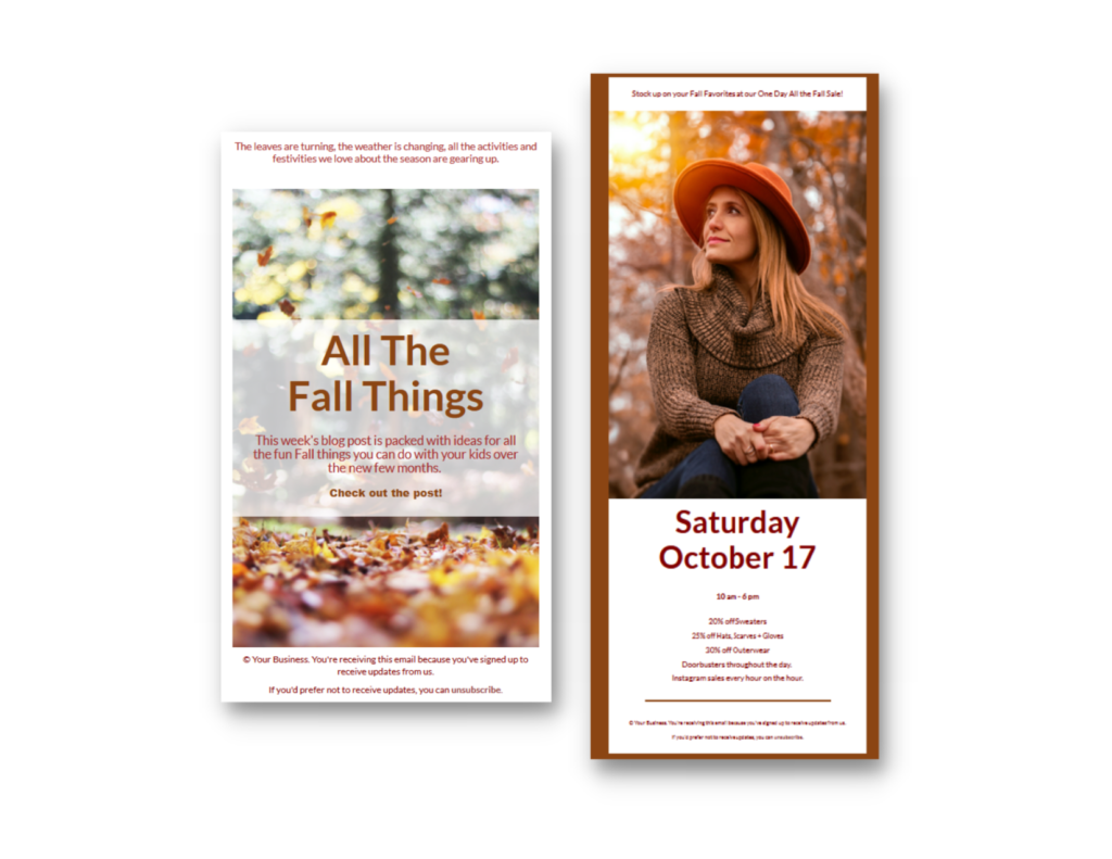 Screenshots of two Fall-themed email templates, both with large feature images and minimal text.