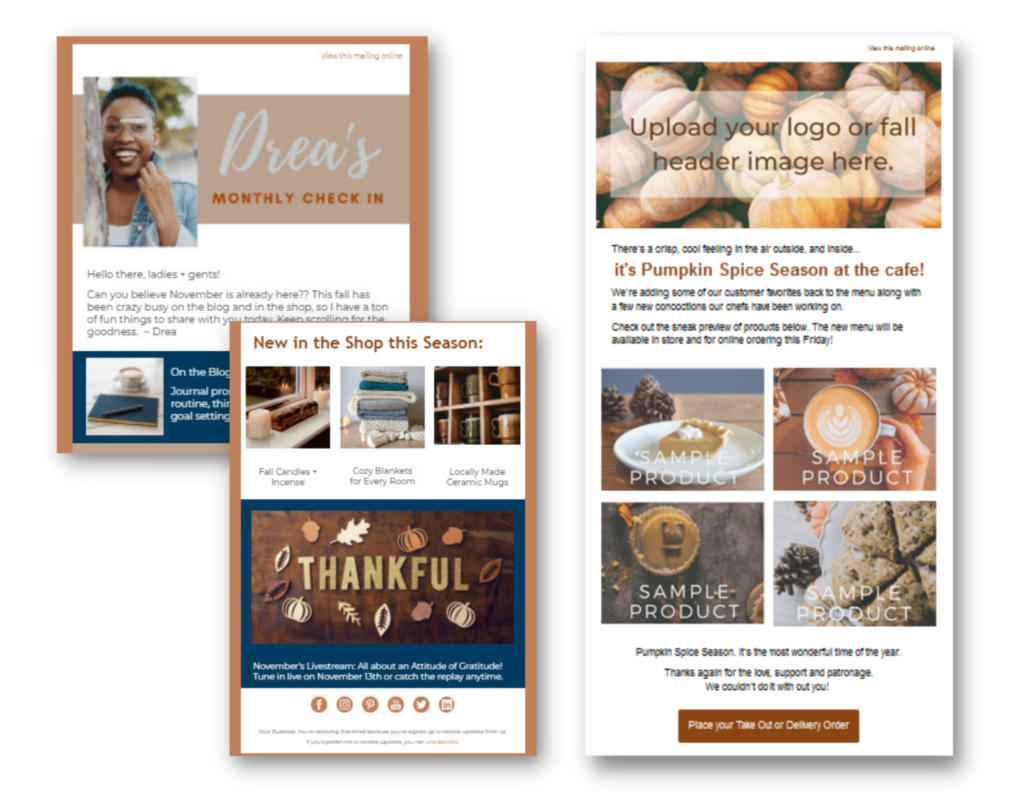 Screenshots of two Fall-themed email templates, both with multiple content sections, images, text, and call-to-action options.