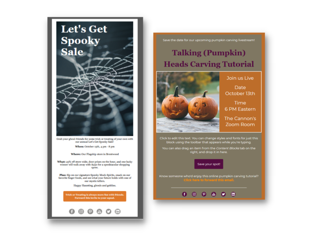 Screenshots of two Halloween-themed email templates, both using festive colors and designed to be event announcements or invitations.